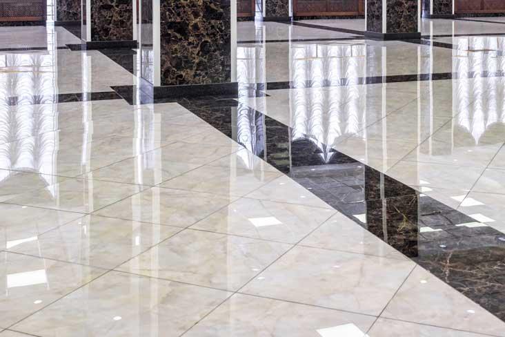Gloss marble floor