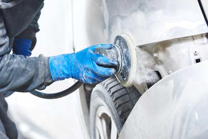 Sanding car body repair